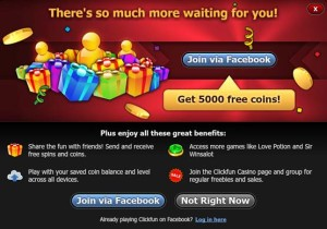 join clickfun via facebook